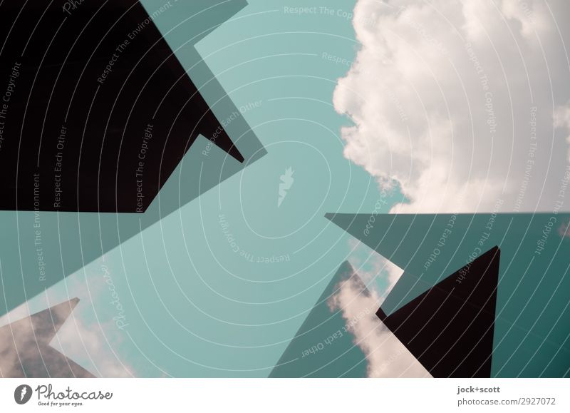 Geo clouds II Art Sky Clouds Beautiful weather Geometry Structures and shapes Corner Exceptional Sharp-edged Fantastic Free Modern Above Green Moody Power