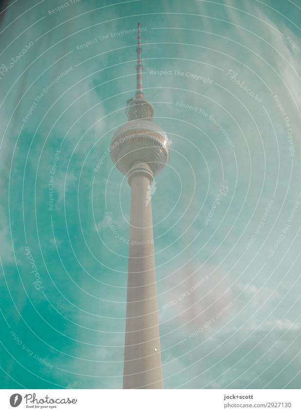 Green Wavelength Sightseeing Air Sky Clouds Beautiful weather Downtown Berlin Manmade structures Tourist Attraction Landmark Berlin TV Tower Large Long Original