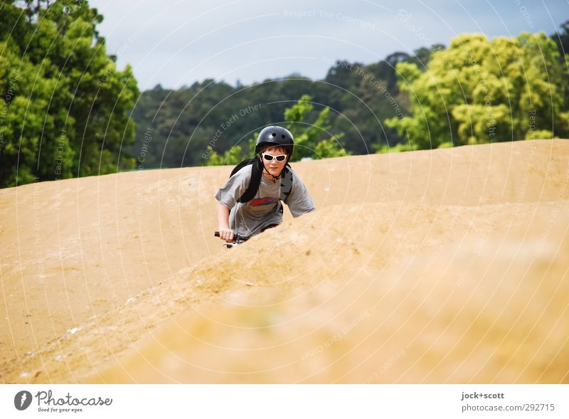 Down Under Leisure and hobbies Bicycle Cycling BMX bike Cycle path Boy (child) 1 Human being 8 - 13 years Child Infancy Earth Cloudless sky Beautiful weather