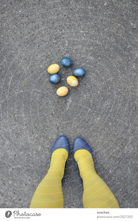 ...or Easterasi Legs feet Stockings Yellow Footwear Lady Woman feminine Street Asphalt Funny Strange eggs Painted Easter egg Blue