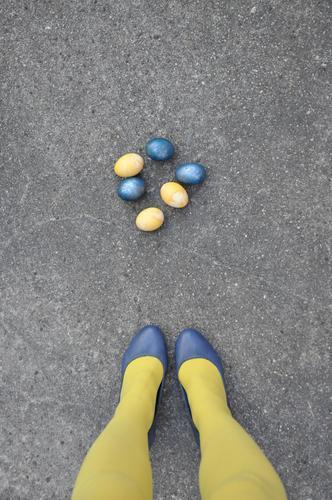 ...or Easterasi Legs feet Stockings Yellow Footwear Lady Woman feminine Street Asphalt Funny Strange eggs Painted Easter egg Blue