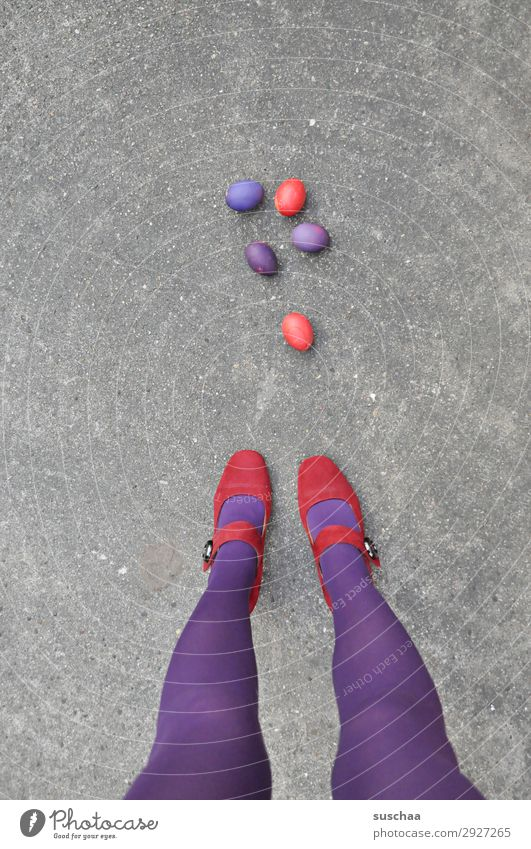 Easter red/purple Easter egg Tradition Egg boiled eggs colorful eggs Violet Red Legs feminine Woman Stockings feet Street High heels Asphalt Strange Whimsical