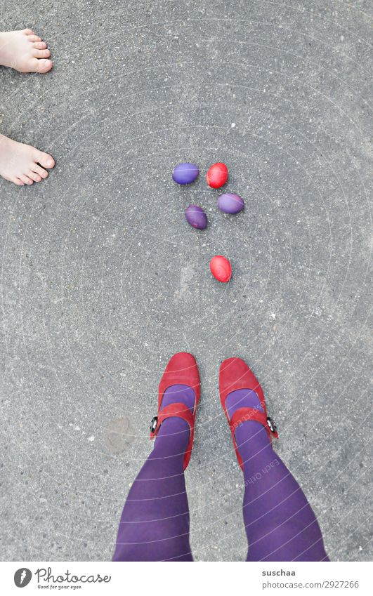 easter red/purple + spectators Easter Easter egg Egg boiled eggs colorful eggs Yellow Blue Legs feminine Woman Stockings feet Street Asphalt Strange Whimsical