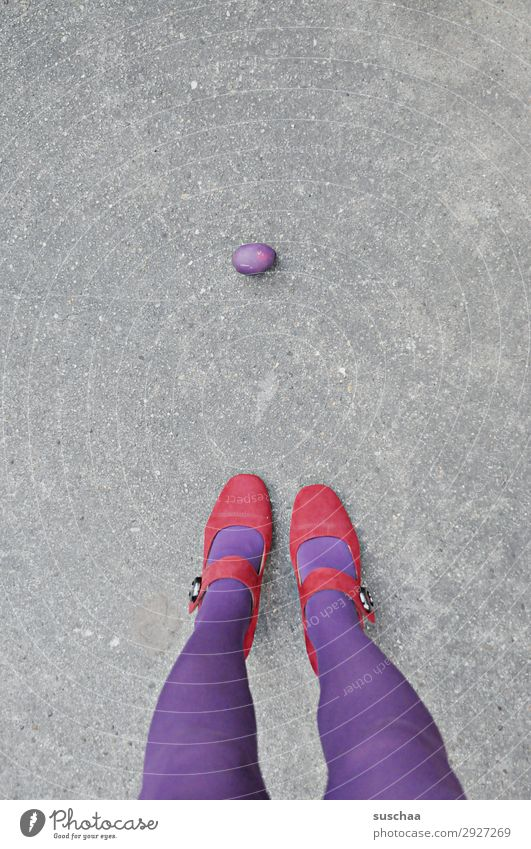 Isolation left over. Easter Easter egg Violet Woman Legs feet feminine Loneliness Individual Insulation Isolated (Position) Remainder Unintentional unloved