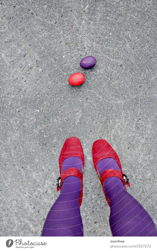 two Easter eggs Red Violet 2 Egg Street Asphalt Woman Legs Stockings feminine Stand High heels Whimsical Strange