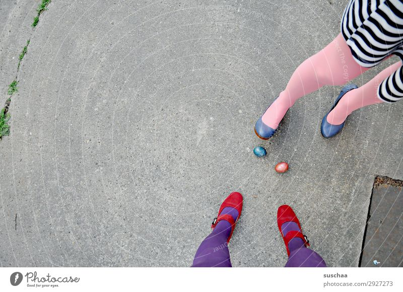 to easter (2) Easter Easter egg Tradition Egg boiled eggs colorful eggs Legs feminine Woman Stockings feet Street High heels Asphalt Strange Whimsical 2 people