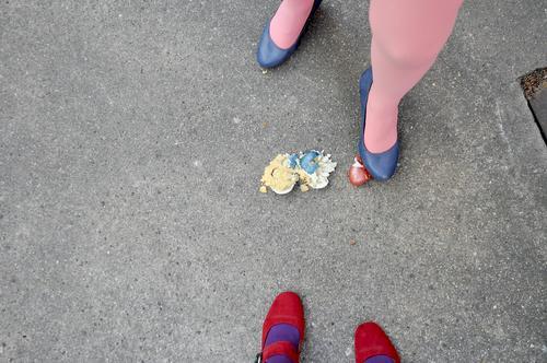 to easter (1) Easter Easter egg Tradition eggs boiled eggs colorful eggs Legs feminine Woman Stockings Feet Street High heels Asphalt Strange Whimsical Funny