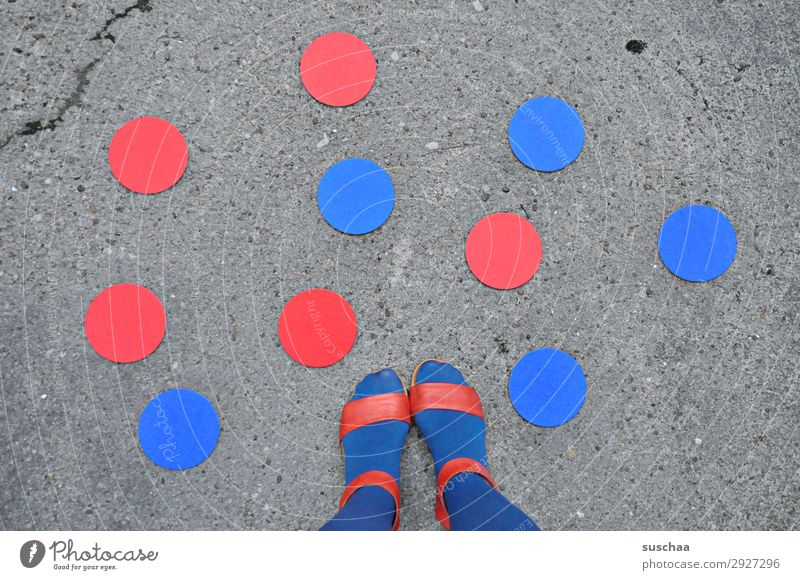 red and blue dots (feet) Feet Footwear Sandal Woman Human being feminine Summer Warmth Exterior shot Street Asphalt Stand Symbols and metaphors Red Blue Point