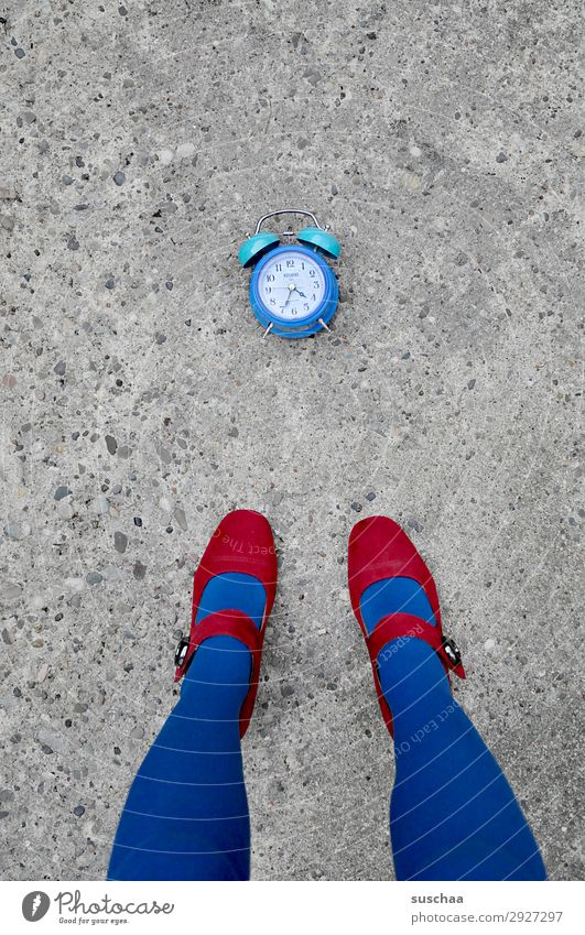 Woman Blue Red Street Legs Time Feet Clock Clock face Digits and numbers Asphalt Haste Whimsical Exhaustion High heels Alarm clock