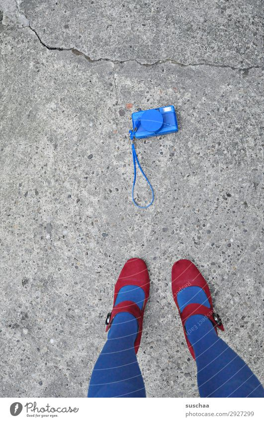 Woman Blue Street Legs Copy Space Feet Retro Stand Photography Asphalt Camera Stockings Analog Whimsical Strange Take a photo