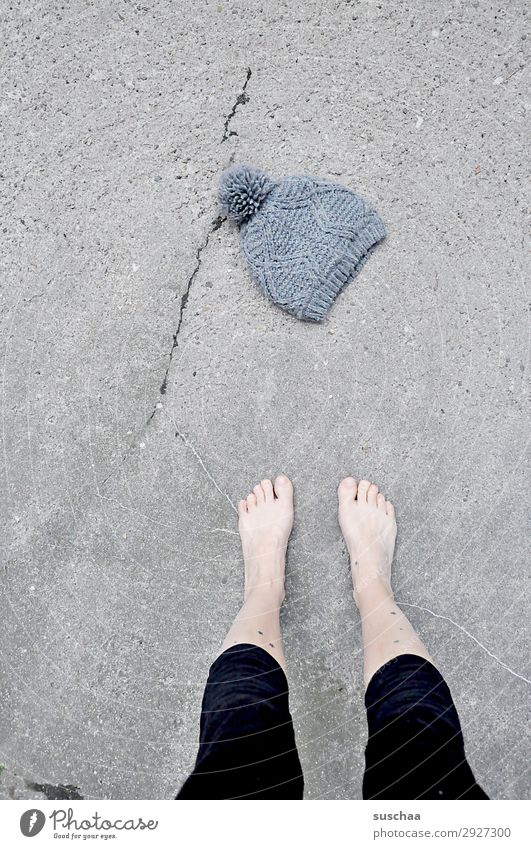 April weather Woman Feet Toes Legs feminine Barefoot Naked Street Asphalt Cold Warmth Summer Winter Cap Woolen hat Weather Climate Climate change