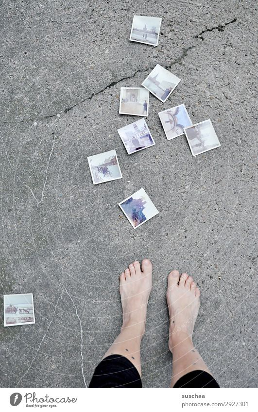 1600 photos Woman Legs feet Toes Barefoot Naked Street Asphalt Photography Analog Old fashioned Retro Memory Grief Nostalgia Past Transience Infancy