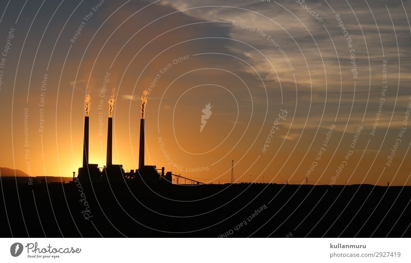 Industrial MorningGrey Industry Energy industry Advancement Future Coal power station Energy crisis Nature Landscape Sunrise Sunset Climate Climate change