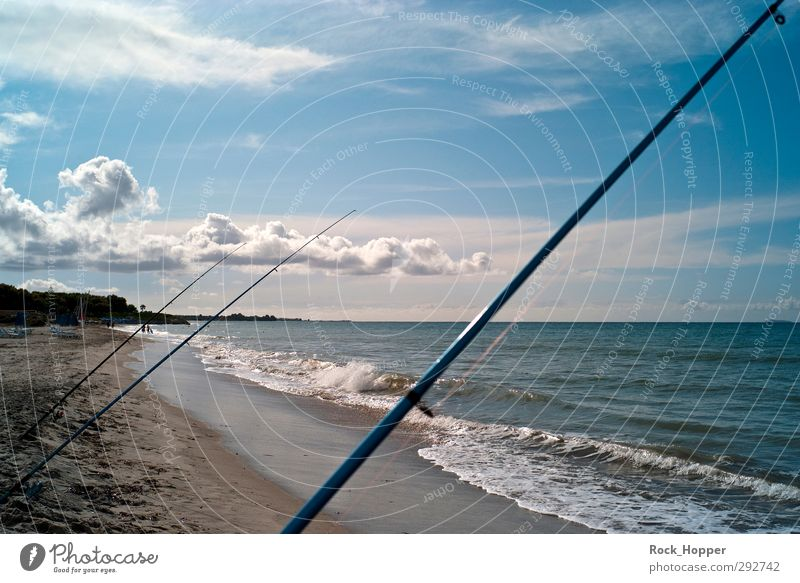 Fishing in the sea Fishing (Angle) Vacation & Travel Far-off places Summer vacation Beach Ocean Waves Aquatics Fishing rod Sand Water Sky Clouds Autumn Coast