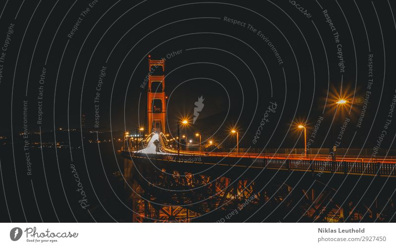 Golden Gate Night Light Traces Vacation & Travel Tourism Sightseeing City trip San Francisco San Francisco bay Town Deserted Tourist Attraction Landmark