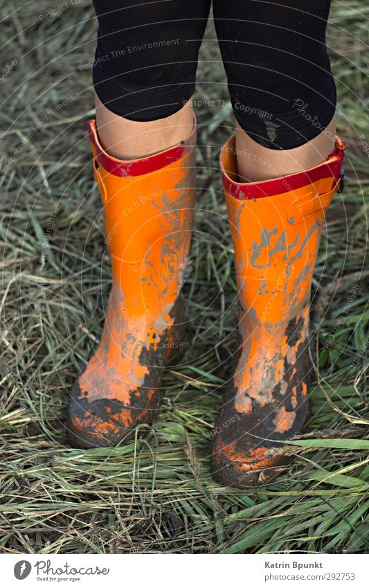 gumboots #2 Legs 1 Human being Bad weather Meadow Mud Rubber boots Stand Colour photo Exterior shot