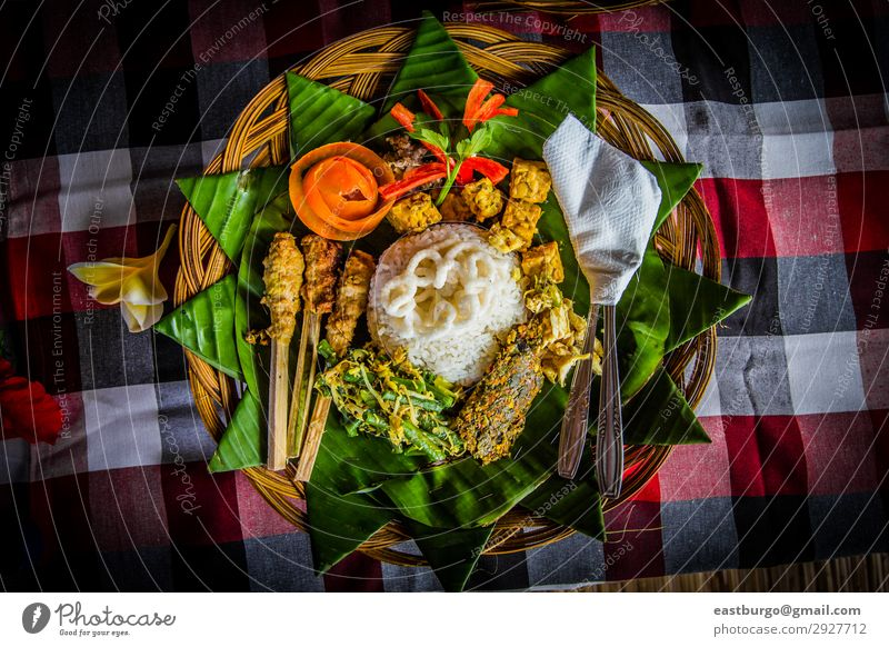 Traditional Balinese Meal Meat Lunch Dinner Restaurant Fresh Delicious asian ayam pelalah balinese cuisine Banana leaves banana leaf food chili paste