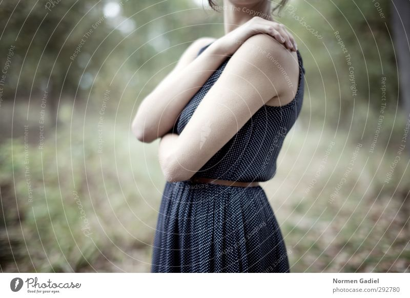 Human being Woman Nature Youth (Young adults) Blue Green Beautiful Loneliness Calm Forest Young woman Feminine Sadness Natural Fear Clothing