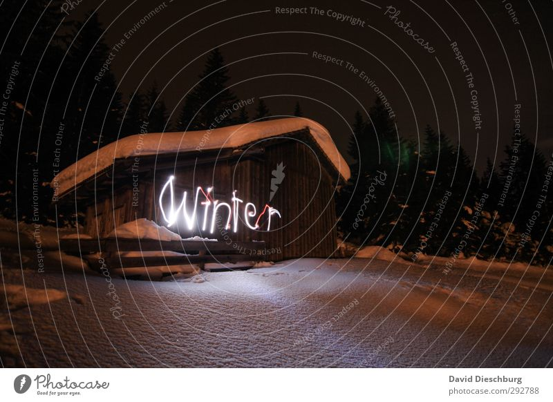 winter magic Vacation & Travel Adventure Far-off places Freedom Expedition Winter Snow Winter vacation Mountain Hiking Landscape Ice Frost Tree Forest Alps Hut