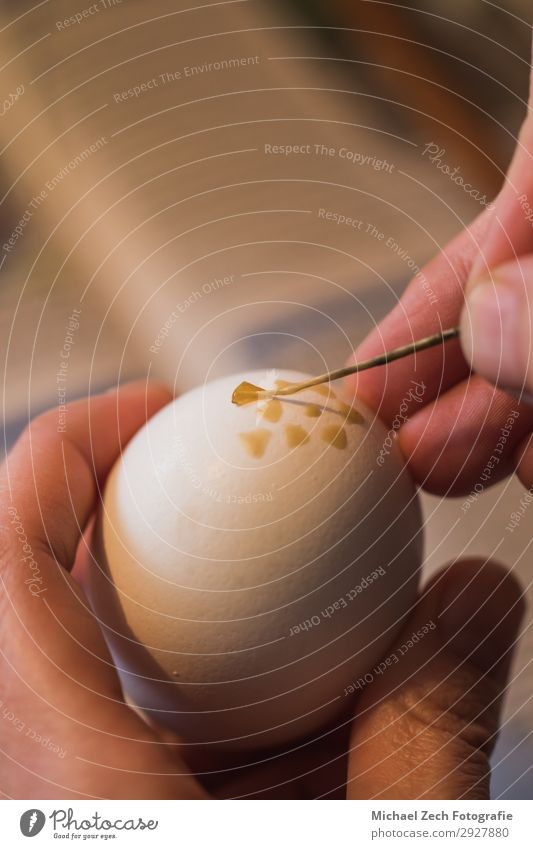 macro shot of woman, handpainting an easter egg with wax Design Beautiful Handicraft Decoration Feasts & Celebrations Easter Craft (trade) Art Culture Spring