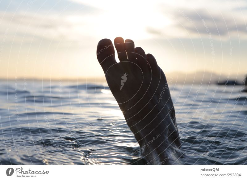 Ice-foot ahead! Art Esthetic Feet Water Surface of water Aquatics Swimming & Bathing Summer vacation Summery Refreshment Refrigeration Lake Garda