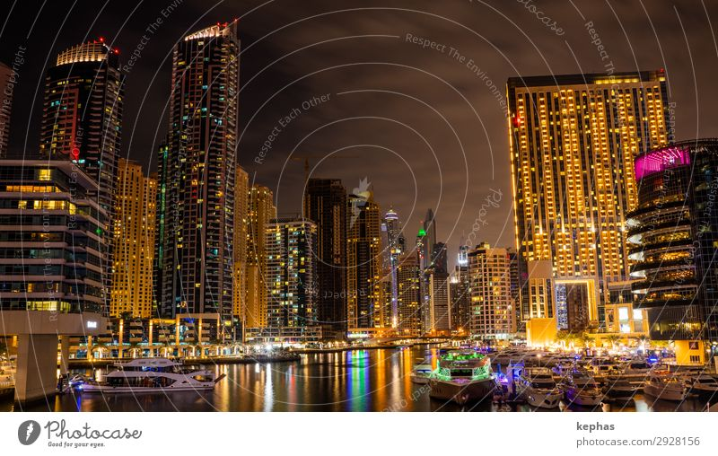 Dubai Marina at night Advancement Future United Arab Emirates Asia Arabia Town Port City Downtown Skyline High-rise Harbour Manmade structures Building