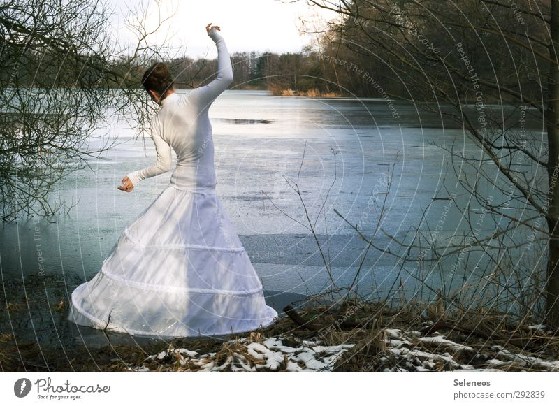 Human being Woman Nature Water Plant Tree Landscape Winter Adults Environment Cold Feminine Coast Lake Ice Body