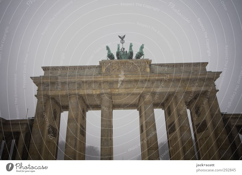 Snowdrift at the Brandenburg Gate World heritage Sky Winter Bad weather Frost Snowfall Downtown Berlin Capital city Tourist Attraction Landmark Famousness
