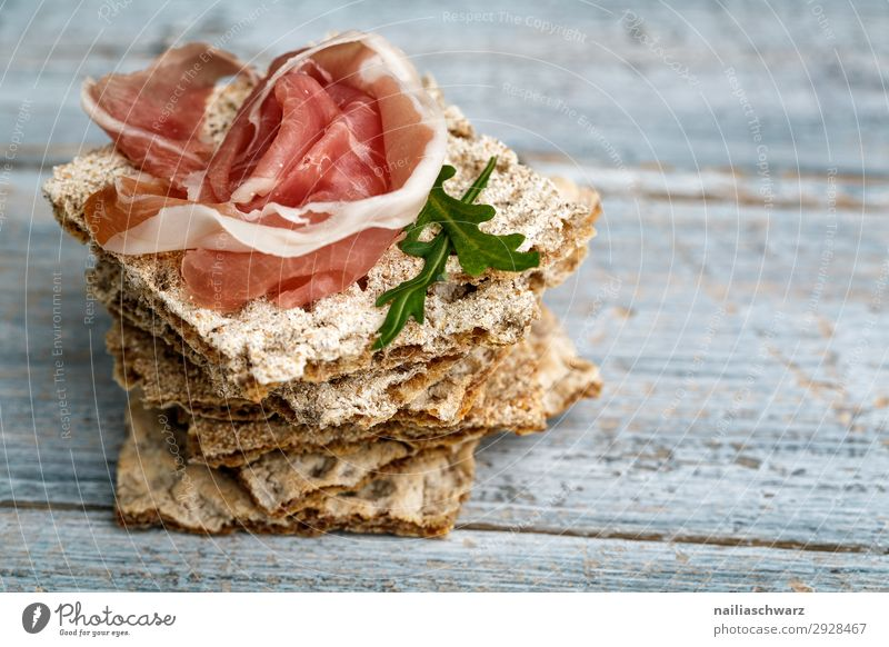 Crispbread with ham Food Meat Dough Baked goods Bread Ham Slice of ham Strips of ham Raw ham crispbread Rucola Nutrition Organic produce Slow food Lifestyle