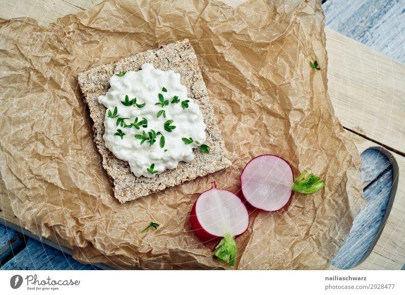 Crispbread with radishes Food Cheese Dairy Products Vegetable Radish Cress Skimmed milk Nutrition Breakfast Picnic Organic produce Vegetarian diet Diet
