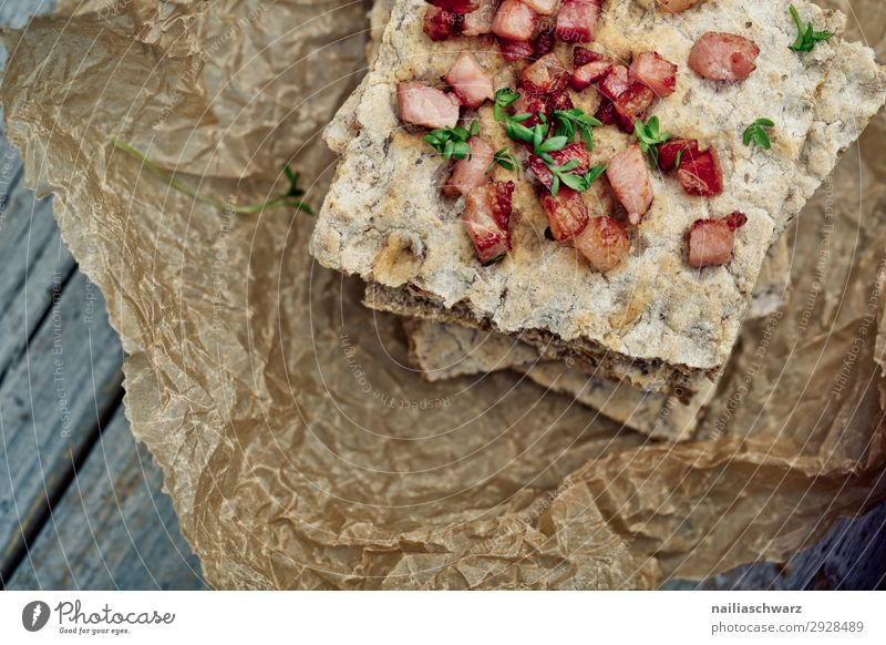 Crispbread with bacon Food Dough Baked goods Bacon Nutrition Organic produce Healthy Health care baking paper Wood Fragrance Delicious Brown Red To enjoy