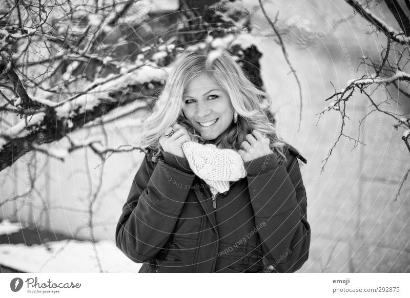 :] Feminine Young woman Youth (Young adults) 1 Human being 18 - 30 years Adults Jacket Scarf Happiness Beautiful Smiling Black & white photo Exterior shot Day