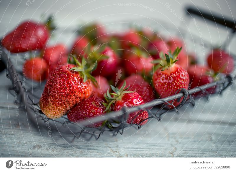Fresh strawberries Food Fruit Strawberry Nutrition Organic produce Vegetarian diet Diet Fasting Bowl Wire basket Basket Lifestyle Healthy Eating Summer Wood