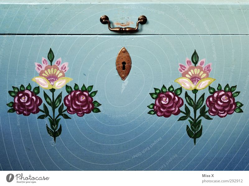 Grandma's chest Decoration Art Work of art Flower Leaf Blossom Old Blue Multicoloured Ancient Painting and drawing (object) Painted Ornament country painting
