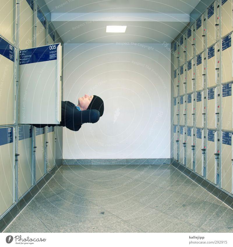 Human being Man Adults Interior design Head Masculine Wait Sleep Break Narrow Train station Cupboard 30 - 45 years Flap Lockbox To plunge