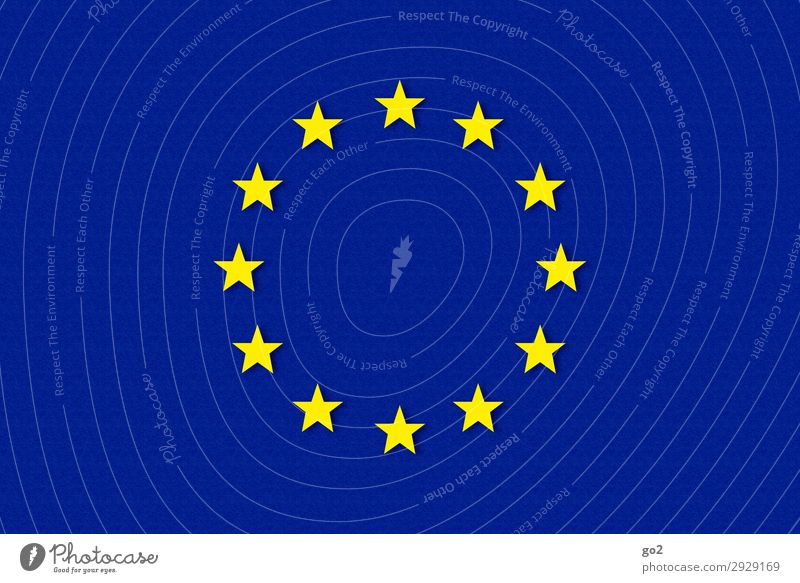 Europe Sign Flag Star (Symbol) Blue Yellow Freedom Society Politics and state Future brexite European flag European Parliament Colour photo Studio shot Close-up