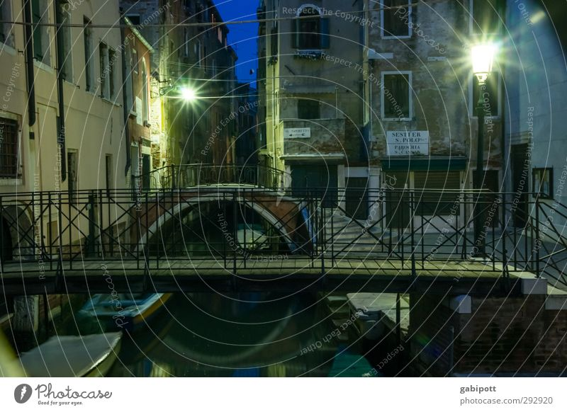 Blue City House (Residential Structure) Dark Building Time Watercraft Facade Glittering Bridge Transience Uniqueness Lantern Street lighting