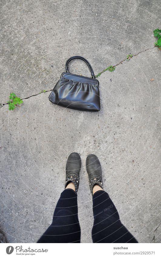 bag Bag Handbag Lady Woman feminine Legs feet Footwear Stand Street Asphalt Sidewalk Shopping Old fashioned Modern Retro Grandmother purse thief take Find