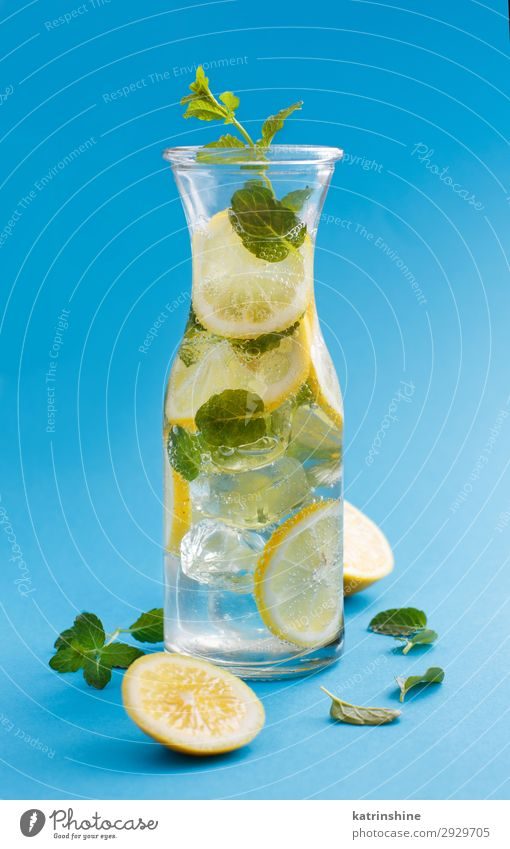 Homemade refreshing drink with lemon juice and mint Fruit Beverage Lemonade Juice Summer Leaf Cool (slang) Fresh Natural Blue Yellow Green White Mint citrus