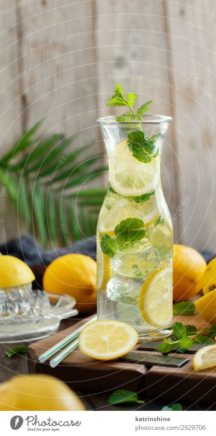 Homemade refreshing drink with lemon juice and mint Fruit Beverage Lemonade Juice Summer Leaf Cool (slang) Dark Fresh Natural Yellow Green White Mint citrus