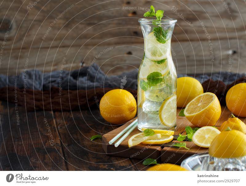 Homemade refreshing drink with lemon juice and mint Fruit Beverage Lemonade Juice Summer Leaf Cool (slang) Dark Fresh Natural Yellow Green White Mint citrus