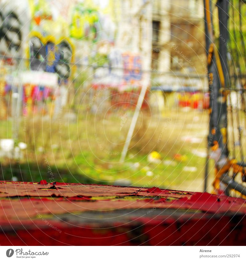 backyard idyll Furniture Table Art Work of art Painting and drawing (object) Youth culture Subculture Environment Berlin Town Downtown Deserted Building