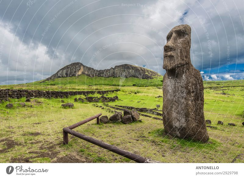 The volcano Rano Raraku, quarry of the moais of Easter Island Vacation & Travel Nature Summer Landscape Clouds Mountain Meadow Art Rock Park Field Culture