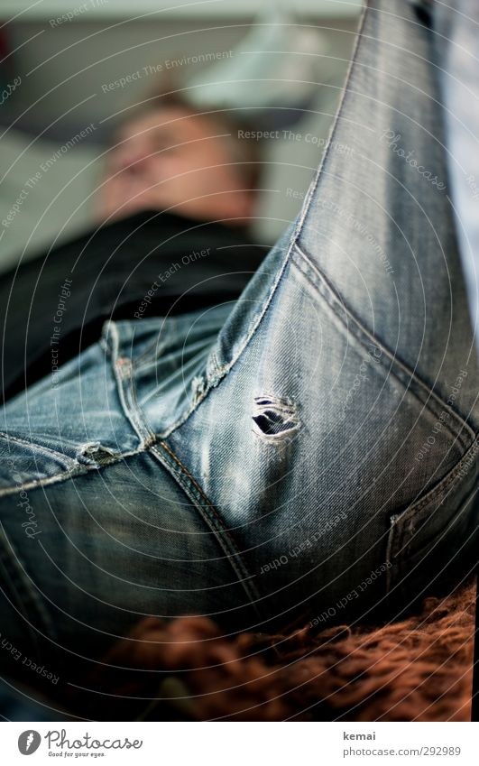 HOT LOVE | exit hole :) Human being Masculine Man Adults Life Body Legs Pants Jeans Cloth Hollow Lie Broken Relaxation Break Cozy Old Shabby Colour photo