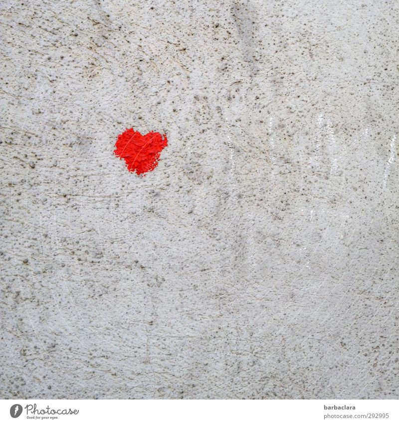 HOT LOVE | Herzilein Valentine's Day Wall (barrier) Wall (building) Facade Heart Make Draw Eroticism Friendliness Small Cute Gray Red Emotions Joy Friendship