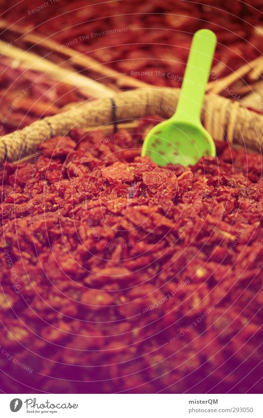Red Art Esthetic Many Herbs and spices Exotic Marketplace Goods Shovel Pepper Ingredients Chili Stock of merchandise Spice stall Market day