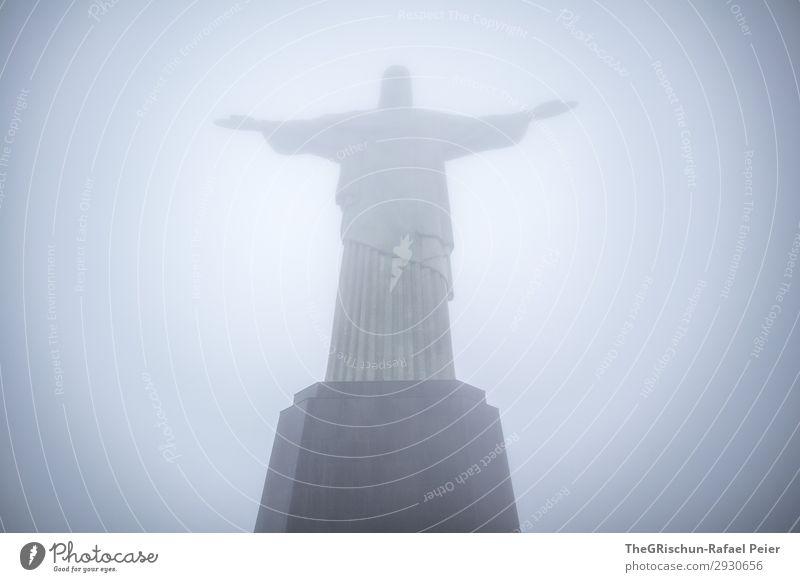 Cristo Redentor Town Esthetic Brazil Rio de Janeiro christ the redeemer cristo redemptor Statue Tourism Perspective Vantage point Gray Fog Benediction Pedestal