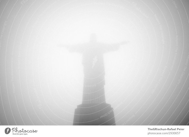 Cristo Redentor Town Port City Gray Black White Statue christ the redeemer Benediction Apology Jesus Christ Brazil Pedestal Tourism cristo redemptor Fog