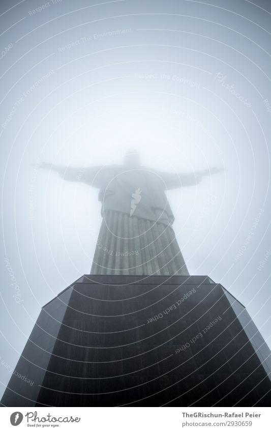 Christ the Redeemer Town Blue Gray Black Silver White Christianity Jesus Christ Statue Rio de Janeiro Pedestal Stone Wait Landmark Brazil Colour photo