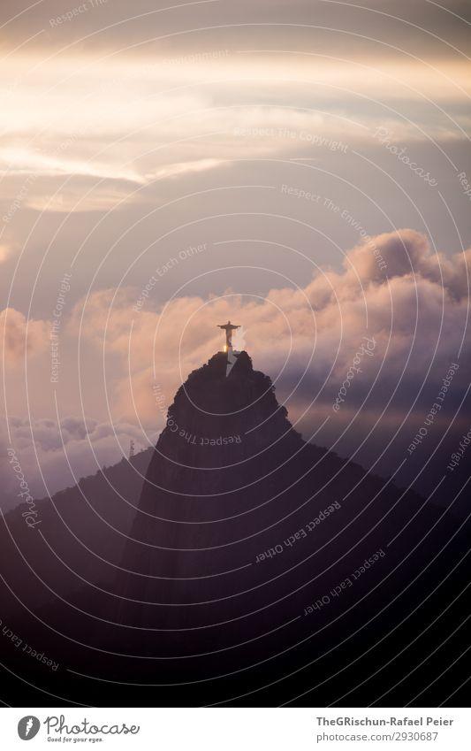 Christ the Redeemer Environment Nature Landscape Blue Violet Sunset Rio de Janeiro Brazil Clouds Mountain Statue christ the redeemer christo redemptor Shadow